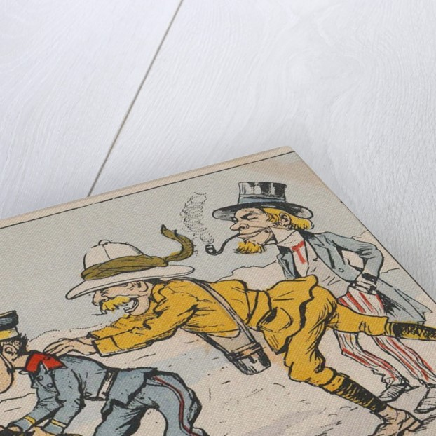 Japanese soldier challenging Russian soldier, urged on by an Englishman and Uncle Sam by Anonymous