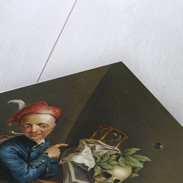 An anamorphic Trompe lOeil with a Vanitas still life by Anonymous