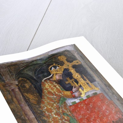 Charles IV places a splinter of the Holy Cross in a reliquary, c. 1360 by Anonymous