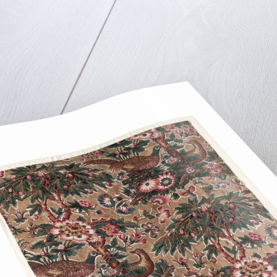 Glazed Chintz with Pheasant and Flower Design, c. 1816 by Bannister Hall