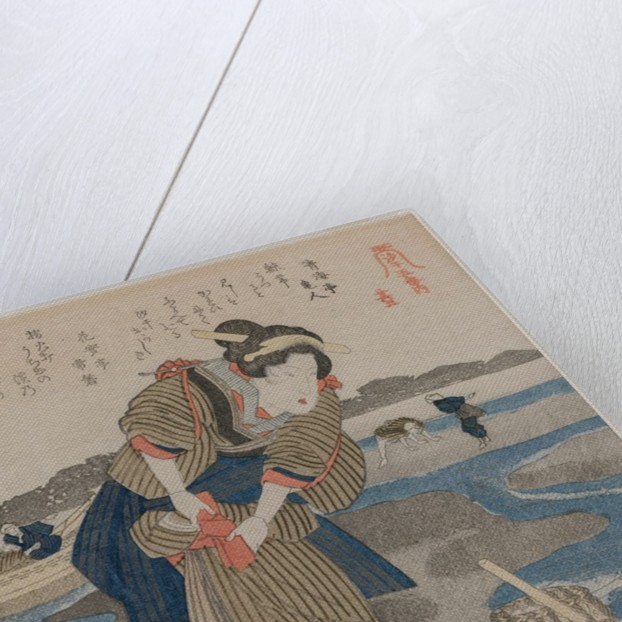 Woman Fastening her Skirts; from the series Five Pictures of Low Tide, late 1820s by Utagawa Kuniyoshi