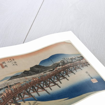 Yahagi Bridge at Okazaki, From the series Fifty-Three Stations of the Tokaido, 1833 by Ando Hiroshige