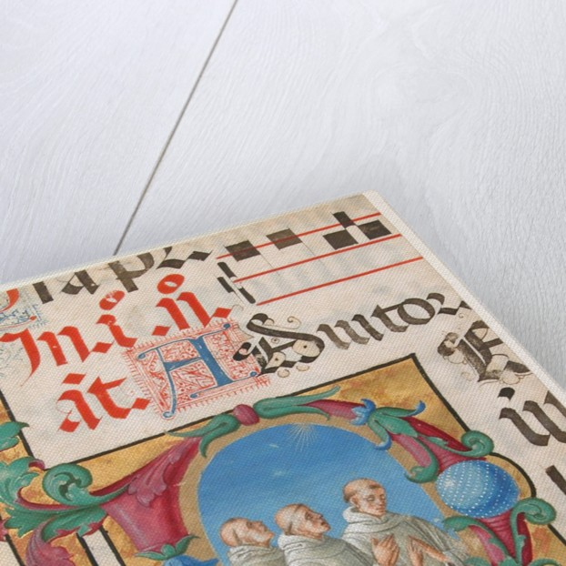 Manuscript Illumination with Singing Monks in an Initial D, from a Psalter, 1501-2 by Girolamo dai Libri