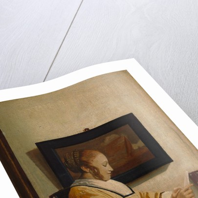 A Young Woman Reading by Johannes Vermeer (imitator of)