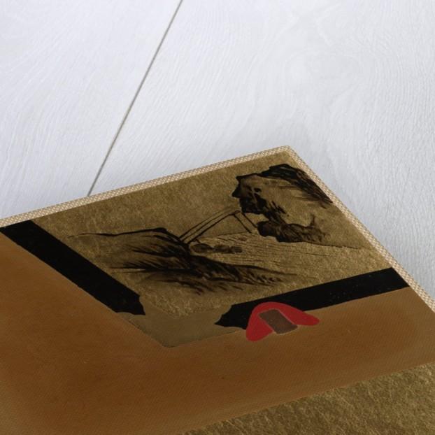 Three Men Looking at Framed Lacquer Drawing by Shibata Zeshin
