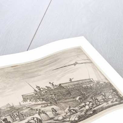 Loading a galley, from 'Views of the port of Livorno', 1654-55 by Stefano della Bella