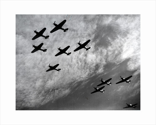 Hawker Hurricanes flying in formation, Battle of Britain, World War II, 1940 by Unknown
