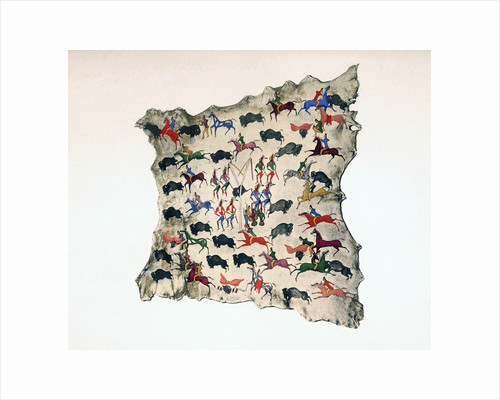 Moose skin by North American Shoshone Indian, showing Buffalo hunt, 20th century by Katsikodi