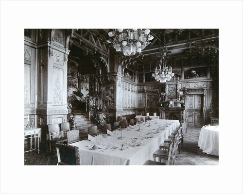 Dining room of the Imperial Palace in Bialowieza Forest, Russia, late 19th century. by Mechkovsky