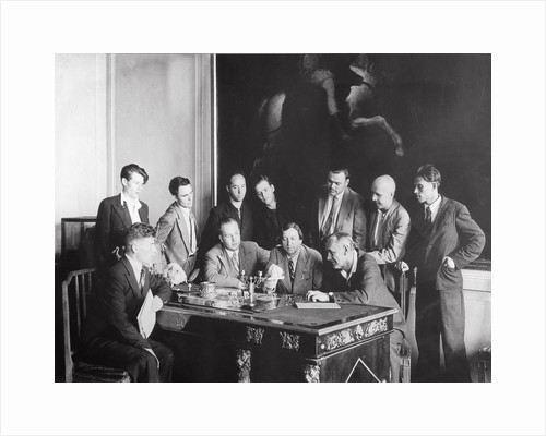 Artist Isaak Brodsky with his students in the Academy of Arts, Leningrad, USSR, 1936 by Unknown