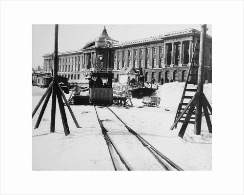 Suburban train station in fornt of the Academy of Arts, St Petersburg, Russia, c1896-c1898 by Unknown