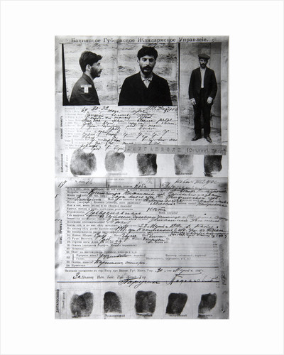 Baku Police form of the political criminal J Jugashvili (Stalin), 1910 by Unknown