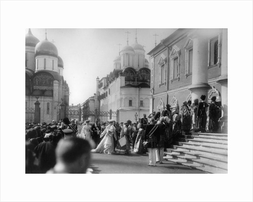 Procession of the Tsars family to the Chudov Monastery, Moscow, Russia, Palm Sunday, 1903. by K von Hahn