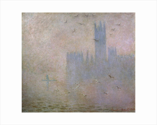 Seagulls. The Thames in London. The Houses of Parliament by Claude Monet