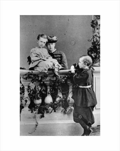 The three youngest children of Tsar Alexander II and Maria Alexandrovna of Russia, c1863-c1865 by Unknown