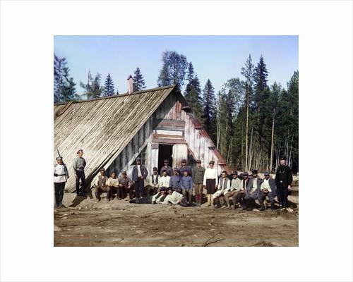 Austro-Hungarian prisoners of war near a barracks, Karelia, Russia, WWI, 1915. by Sergey Mikhaylovich Prokudin-Gorsky