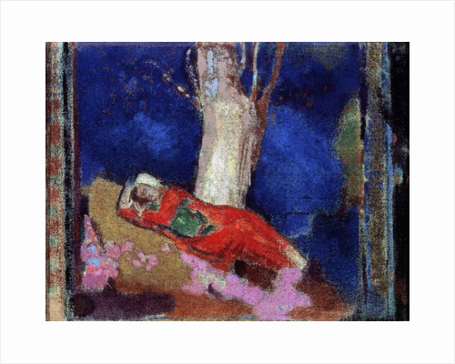 A Woman Lying under the Tree, 19th or early 20th century. by Odilon Redon