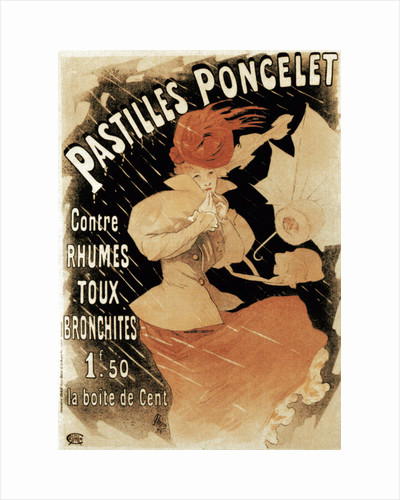 Advertising poster for Pastilles Poncelet, a cold and bronchitis remedy, 1896. by Jules Cheret