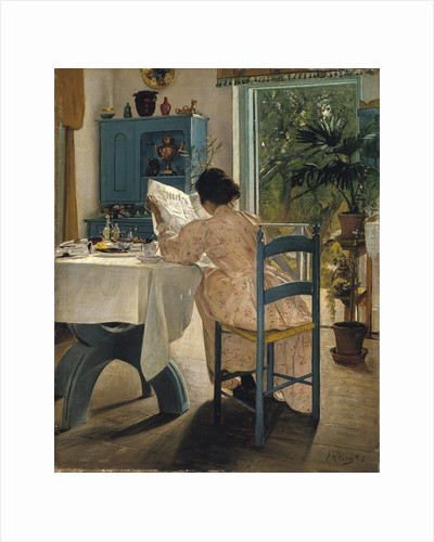 Breakfast with the Morning Newspaper, 1898. by Laurits Andersen Ring
