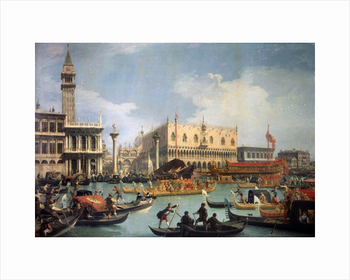 Buccentoros Return to the Pier at the Doges palace, 1730s. by Canaletto