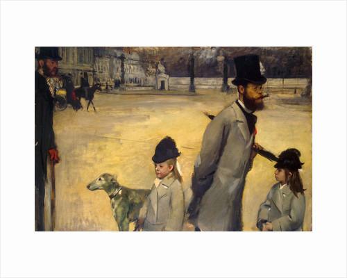 Place de la Concorde, (Viscount Lepic and his Daughters Crossing the Place de la Concorde), 1875. by Edgar Degas