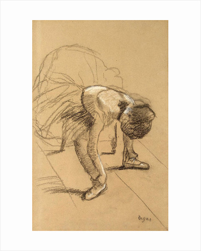 Seated Dancer Adiusting her Shoes by Edgar Degas