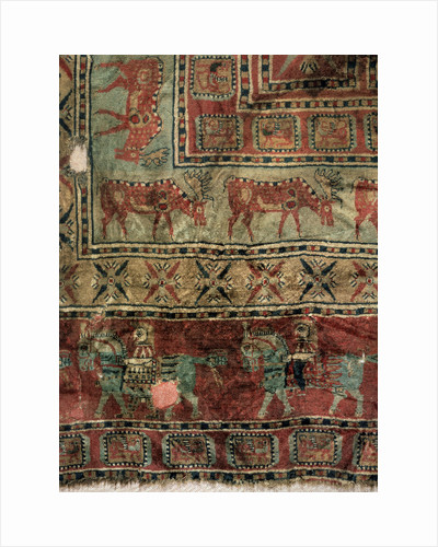 Pile Carpet (Detail: Fallow deers and horsemen), 5th-4th century BC by Unknown