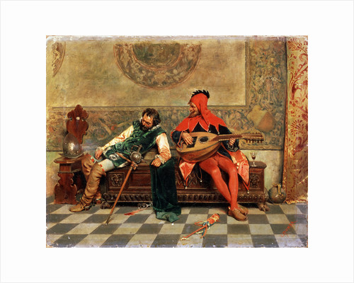 Drunk Warrior and Court Jester, Italian painting of 19th century. by Casimiro Tomba