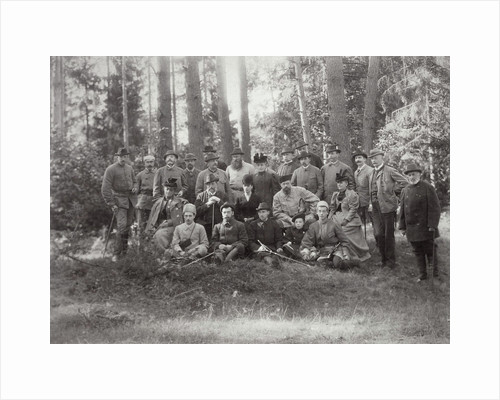 Tsar Alexander III with family and friends on a hunt in the Bialowieza Forest, Russia, 1894 by Unknown