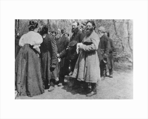 Landowner giving the Paschal greeting to her peasants, Russia, 1890s by Unknown
