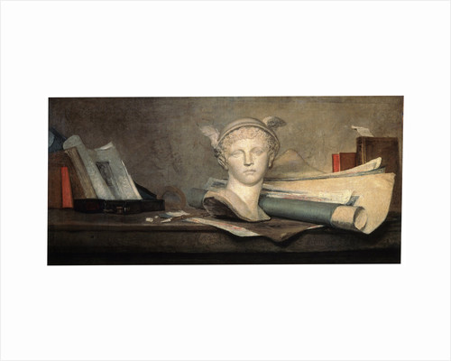 Still Life with Attributes of the Arts, 18th century. by Jean-Simeon Chardin