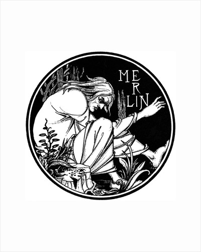 Merlin. Illustration to the book Le Morte dArthur by Sir Thomas Malory, 1893-1894 by Anonymous