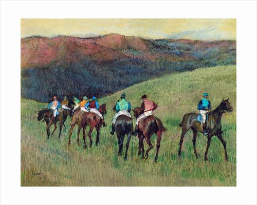 Racehorses in a Landscape by Edgar Degas
