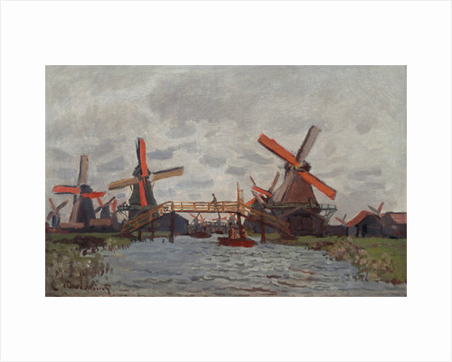 Mills at Westzijderveld near Zaandam, 1871 by Claude Monet