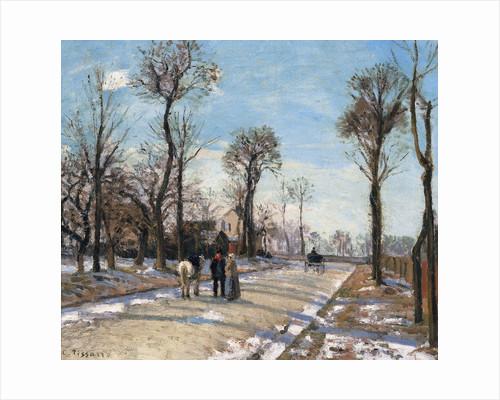 Route de Versailles, Louveciennes, Winter Sun and Snow by Camille Pissarro