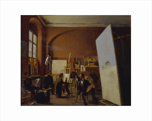 Studio of the painter Count Vasily Maksutov, 1858 by Yevgraf Semyonovich Sorokin