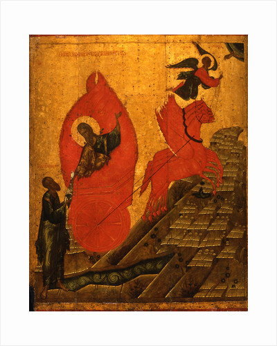 The Prophet Elijah and the Fiery Chariot, Early16th cen by Russian icon