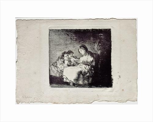 Woman Reading to two Children (La lectura), 1819-1825 by Francisco de Goya