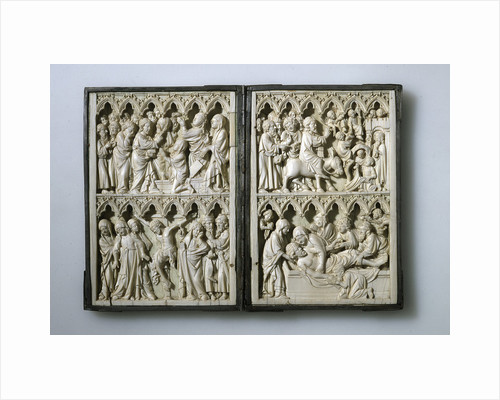 Ivory diptych with scenes from Life of Christ (Property of Queen Jadwiga of Poland), 14th century by Anonymous