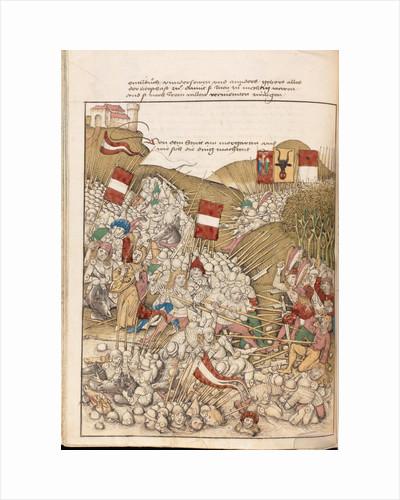 The Battle of Morgarten on 15 November 1315. Miniature from the Spiezer chronicle by Diebold Schilli by Diebold Schilling the Elder