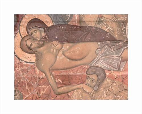 The Entombment of Christ, ca 1380 by Ancient Russian frescos