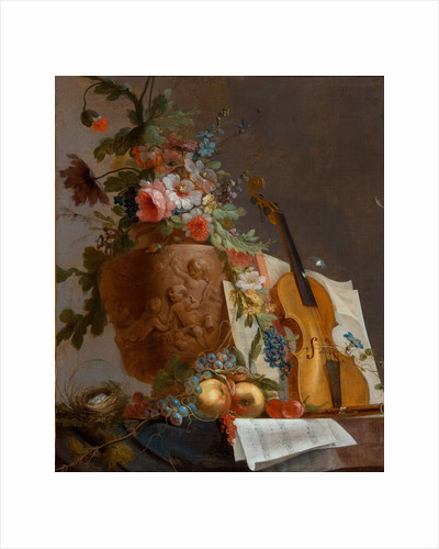 Still life with flowers and a violin, c. 1750 by Jean-Jacques Bachelier