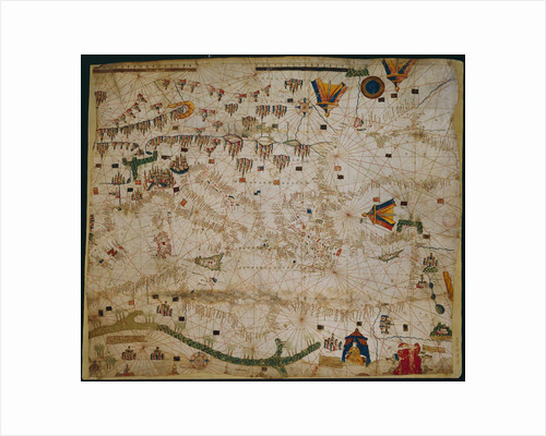 Nautical chart of the Mediterranean Sea and the Black Sea, 1440s by Pere Rossell