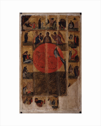 The Prophet Elijah with Scenes from His Life, End of 14th cen by Russian icon
