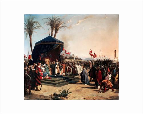 Saint Louis, King of France Receiving Robert Patriarch of Jerusalem in Damietta in 1249 by Jean-Marie Oscar Gué