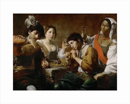 Meeting in a Tavern (Musician and Drinkers) by Valentin de Boullogne