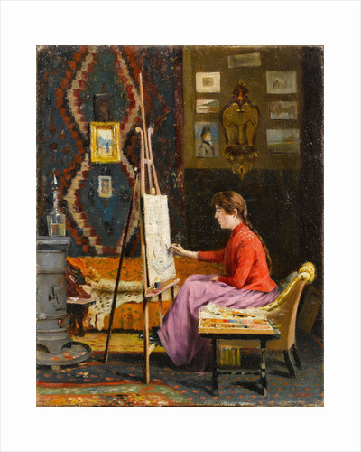 Girl Painter and Her Studio by Halil Pasha