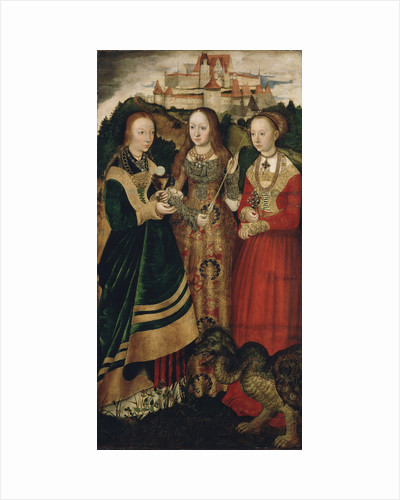 Altarpiece with the Martyrdom of Saint Catharine, right wing: The Saint Barbara, Ursula and Margaret by Lucas Cranach the Elder