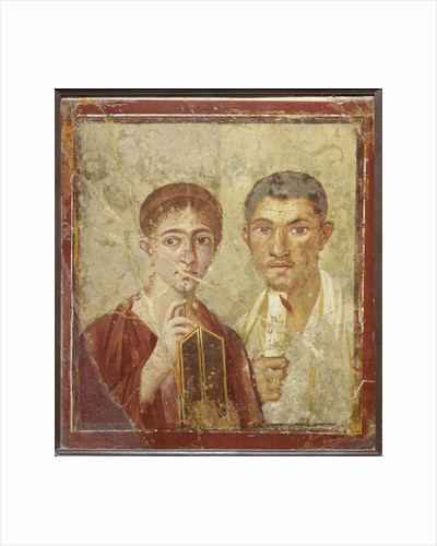 Portrait of the baker Terentius Neo and his wife by Roman-Pompeian wall painting