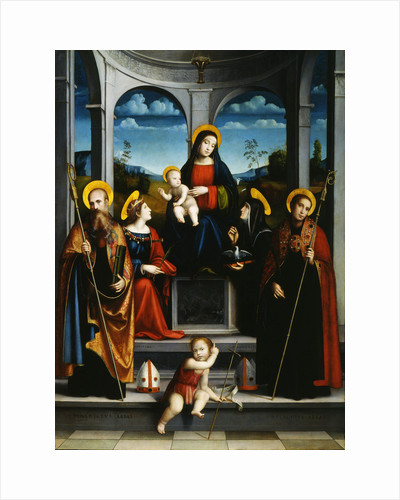 Virgin and Child with Saints Benedict, Justina, Placidus and Scholastica, ca 1515 by Francesco Francia